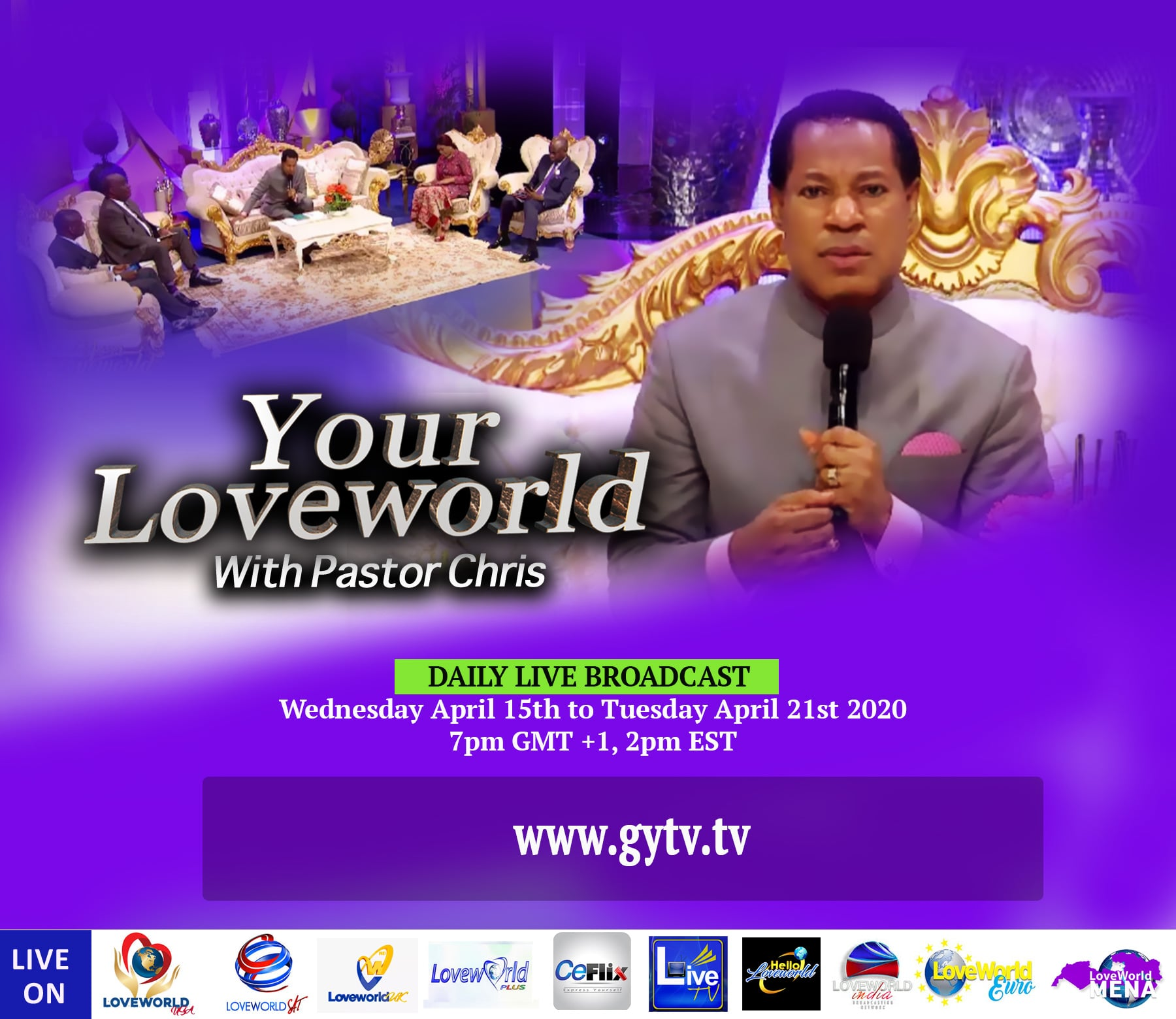 Watch Your Loveworld with Pastor Chris on GYTV